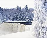 Wallmonkeys Tahquamenon Falls in Snow Peel and Stick Wall Decals WM342287 (30 in W x 24 in H)