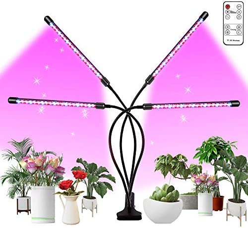 Bseah Grow Light, Plant Lights for Indoor Plants with Wireless Remote Control, Auto ON Off Full Spectrum Plant Lights, with 2 8 12 H Timer, 10 Dimmable Lightness Full Spectrum Led Plant Growing Lamps