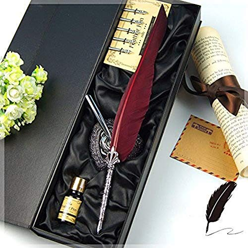 ECVISION Antique Feather Pen Set Metal Nibbed Calligraphy Pen Set Writing Quill (Wine Red) from ECVISION