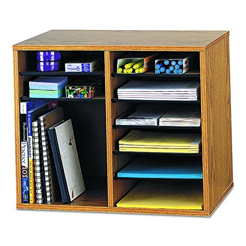 Safco Products 9420MO Wood Adjustable Literature Organizer. 12 Compartment, (12 Compartment Storage)