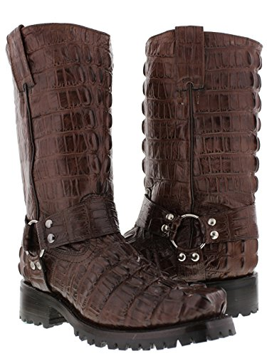 - EL PRESIDENTE - Men's Brown Full Crocodile Tail Leather Biker Motorcycle Boots 9.5 D(M) US