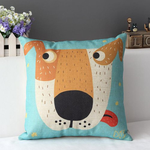 Decorbox Cotton Linen Square Decorative Cushion Cover Sofa Throw Pillowcase Big Dog