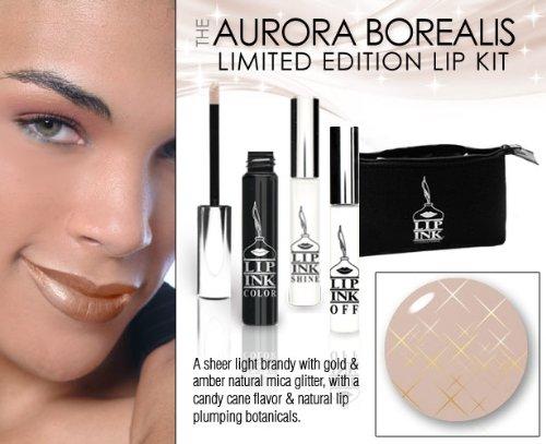 LIP INK Organic Vegan 100% Smearproof Liquid Lip Stain Glitter Kit, Aurora Borealis