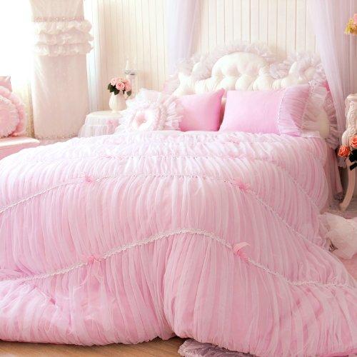 Bloom Bedskirt (Sisbay Fancy Girls Bedding Set Pink,Luxury Princess Ruffle Duvet Cover,Lace Korean Wedding Bed Skirt,Queen Size,4pcs)