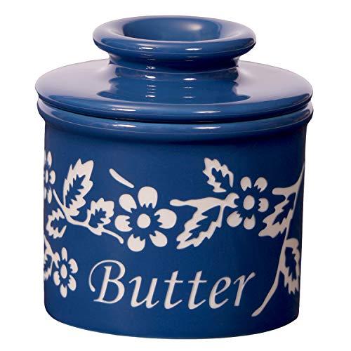 Butter Bell BB-FDPMAR Fleur de Provence Crock-Marine, 4 x 4 x 4 in in, Blue