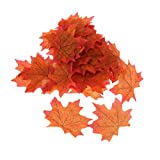 Pack of 100Pcs Artificial Fall Autumn Maple Leaf Silk Leaves Wedding Garden Decorations 7 Colors Choice - Orange