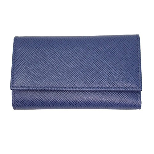Prada Blue Saffiano Leather Key Case 2PG222 Bluette