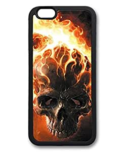 iPhone 6 Plus Case, iCustomonline Flaming Skull Soft Back Case Cover Skin for iPhone 6 Plus 5.5 inch - Black by mcsharks