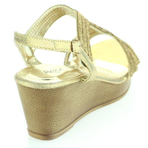 Mujer Señoras Diamante De Imitación Detalle Punta Abierta Slingback Noche Boda Fiesta Paseo Tacón de Cuña Sandalias Zapatos Tamaño Oro