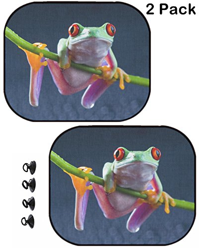 MSD Car Sun Shade Protector Side Window Block Damaging UV Rays Sunlight Heat for All Vehicles, 2 Pack Red Frog Image 709423 Customized Tablemats Stain Resistance Collector Kit Kitchen - Sunshade Frog