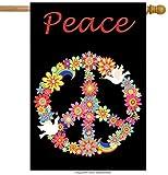 "Best Home-X Bird Houses - ShineSnow Love Peace Bird Flower House Flag 28"" Review"