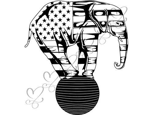 Circus Clipart - Yetta Quiller Elephant Balance Circus Bizarre Humor Ball Animal Surreal Circus Tent Vector Clipart Digital Download Circuit Vinyl Cutting Sticker