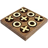 Tic Tac Toe Wooden Board Games Handmade Noughts and Crosses X-O Family Brain Teaser Puzzle