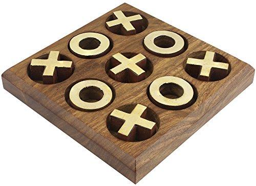 SKAVIJ Wooden Handmade Travel Tic Tac Toe Board Game Brass Inlay Coins (4.5