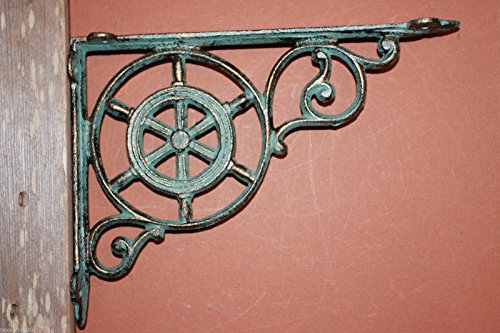 "Southern Metal Ships Wheel Shelf Brackets Antique-style Maritime Bronze-look Cast Iron 9"" x 6 3/4"", Volume Priced Set of 6 B-31"