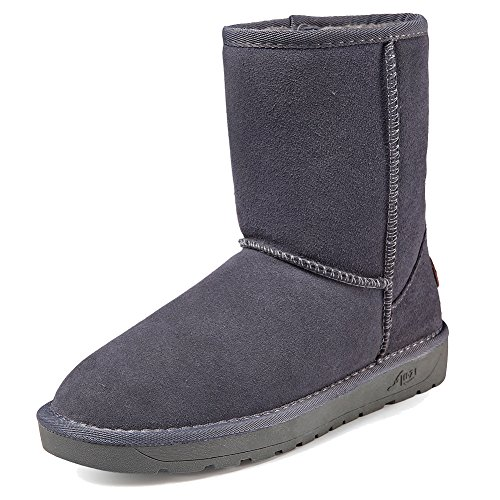 Genuine Suede Leather Skirt - Women's Suede Leather Winter Snow Boots Genuine Short Classic WBMC02-Grey01-38
