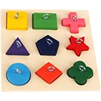 FDBB Pet Educational Toys Bird Parrot Interactive Training Colorful Wooden Blocks Toy Accessories (Color : Natural)