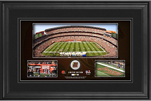 """Cleveland Browns Framed 10"""" x 18"""" Stadium Panoramic Collage with Game-Used Football - Limited Edition of 500 - Fanatics Authentic Certified"""