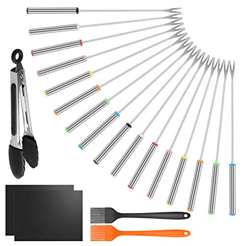 Icnice 16PCS Stainless Steel Barbecue Skewers, Reusable BBQ Stick Needles with 2 BBQ mat, Stainless Steel Silicone Tongs and 2 Baking Brushes for Outdoor Camping and Parties