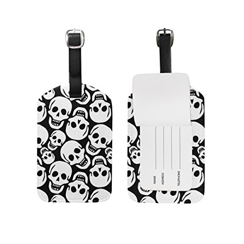 Cooper girl Halloween Skull Luggage Tag Travel ID Label Leather for Baggage Suitcase 1 Piece -