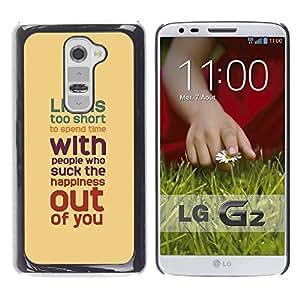 Paccase / SLIM PC / Aliminium Casa Carcasa Funda Case Cover para - Quote Motivational Yellow Teal Pastel - LG G2 D800 D802 D802TA D803 VS980 LS980