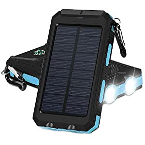 Solar Chargers, GRDE Portable 10000mAh Dual USB Output IP67 Water-Resistant Solar powered Phone Charger with 2 Flashlights Carabiner & Compass for iPhone iPad iPod Cell Phones Tablet Camera (Blue)