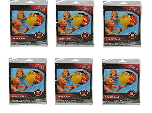 Disney Cars 3 Beach Ball 10.5x6.25x0.25 [Contains 6 Manufacturer Retail Unit(s) Per Amazon Combined Package Sales Unit] -