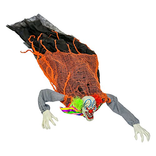 Halloween Haunters Animated Crawling Groundbreaker Circus Clown Zombie with Moving Body LED Eyes Prop Decoration - Scary Spooky Howls, Ghoul Face - Haunted House Tombstone, Party Display -