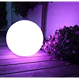 Mr.Go 16-inch/ 40cm Indoor/Outdoor Waterproof Rechargeable LED Glowing Ball/Globe Wireless With Remote, 16 RGB Color Light with 5 Level Dimming & 4 Lighting Modes Plus Rhythm Control, IP68 Waterproof Rating Floats on Water, Super Strong PE Plastic Material, Ideal for Home Pool Party Patio Bar Garden Subtle Accent & Ambient Lighting (40x40x40cm)