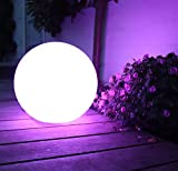 Mr.Go 16-inch Indoor/Outdoor Waterproof Rechargeable LED Glowing Ball Globe Lamp w/ Remote, 16 RGB Colors & 4 Light Effects, Ideal for Home Pool Patio Party Accent Ambient Decorative Lighting Picture