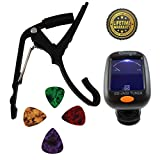 Quick Change Guitar Capo with Tuner for 6 String Acoustic and Electric Guitars - NO Fret Buzz - Aluminum - High Precision Chromatic Clip On Guitar Tuner - Assorted Guitar Picks - Complete 6 Set Bundle