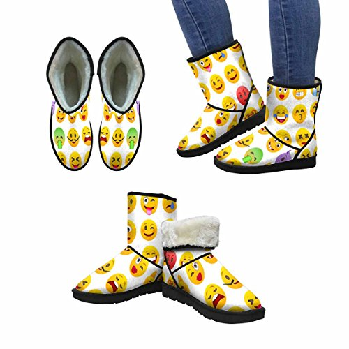 Scarponi Da Neve Womens Interesse Set Di Emoticon Design Art Print Deco Stivali Invernali Comfort Dal Design Unico Multi 1
