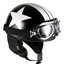 Goggles Vintage German Style Half Helmet (Black/White Star,One size(56-58cm) : Ear muffle Bike Racing Motorcycle Cruiser Scooter Touring Accessories Cruiser Scooter Touring Helmet