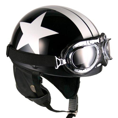 Goggles Vintage German Style Half Helmet (Black White-Star Large) Motorcycle Biker Cruiser Scooter...