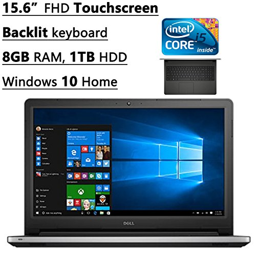 2016 Newest Dell Inspiron 15 5000 15.6″ FHD Touchscreen Laptop, Intel Core i5-6200U, 8 GB RAM, 1 TB HDD, DVD, Backlit keyboard, HDMI, Bluetooth, 802.11ac, RealSense 3D Webcam, Windows 10-MaxxAudio Pro