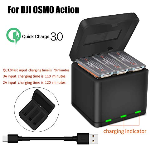 Sodoop Charger for DJI OSMO Action Camera, 3 Battery Smart QC 3.0 Fast Charger USB Charging Box with Type-C Charging Line Accessories Set for DJI OSMO Action 4K Camera