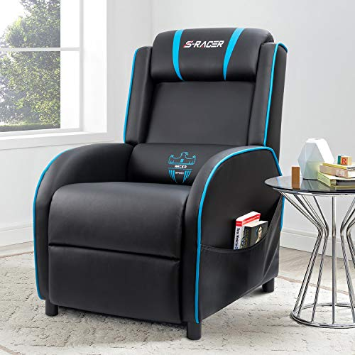 Homall Gaming Recliner Chair Single Living Room Sofa Recliner PU Leather Recliner Seat Home Theater Seating (Blue)