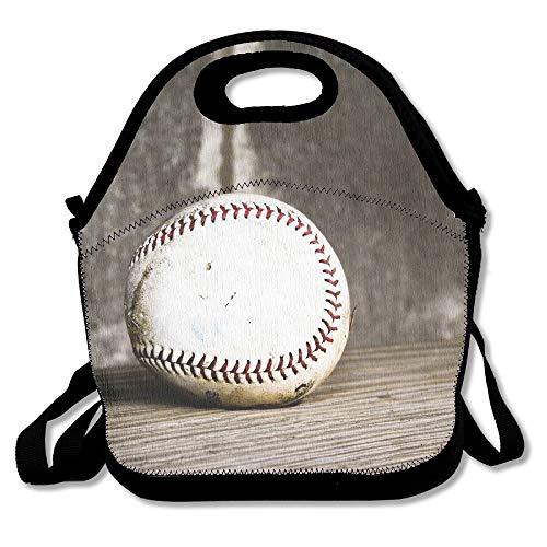 Neoprene Lunch Tote - Baseball Wallpaper Waterproof Reusable Cooler Bag For Men Women Adults Kids Toddler Nurses With Adjustable Shoulder Strap - Best Travel Bag