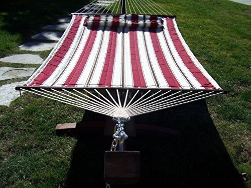 Petra Leisure, 14 Ft. Water Treated Wooden Arc Hammock Stand + Deluxe Quilted, Double Padded Hammock Bed w/Pillow. 2 Person Bed. 450 LB Capacity (Coffee Bean Stain/Elegant Red & White Stripe)