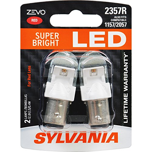 SYLVANIA - 2357 ZEVO LED Red Bulb - Bright LED Bulb, Ideal for Stop and Tail Lights (Contains 2 Bulbs)