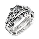 Princess Cut Bridal Set Engagement Ring and Band 1/2ctw Diamond Sterling Silver (i2/i3, i/j)