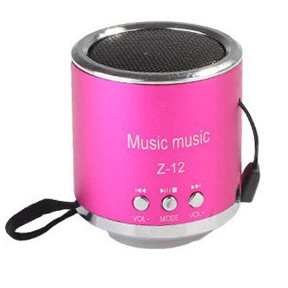 Portable Size Metal Mini Speaker TF Cards FM Radio Speaker Music Stereo Loudspeaker Handsfree Amplifier Subwoofer Phone - Pink Oyamihin