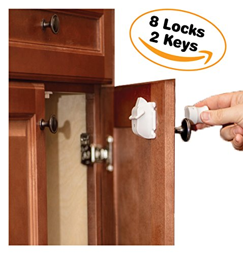 Device Safety Child - Cabinet Locks Child Safety By Emee Baby, Magnetic, Hidden, Under Cabinet, Keep Kids Safe And Secured, New Improved Design, With Stronger Magnet, Tool & Drill-Free, Easy Installation (8 Locks + 2 Keys)