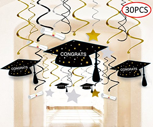 Graduation Party Supplies 2018 Decorations Hanging Swirl- Grad Star/Mortarboards/Diplomas Ceiling Foil Ornaments (30 (Simple Graduation Decorations)