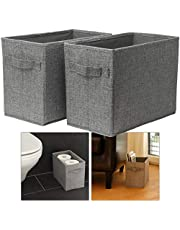 Hausfelder Opbergmand 2-delige set – toiletpapiermand, krantenmand, boekenkist – badkamer kinderkamer mand hoog (2 stuks)