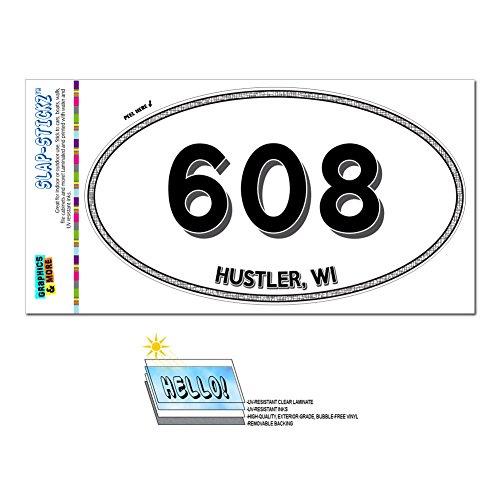 Area Code Oval Window Laminated Sticker 608 Wisconsin - Hustlers Wi