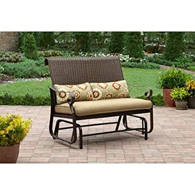 All-Weather Wicker Patio Furniture Glider Chair, Smooth Gliding Motion, Sturdy Steel Frame, Two-Lumbar Pillows Included, Tan, Seats 2