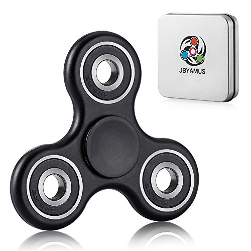 Fidget Spinner Toy Ceramic Bearing Ultra Durable Best Stress Reducer Relieves ADHD Anxiety and Boredom-Spins Last for 2mins (Black)