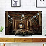 LCD TV dust Cover Strong Durability,Pillar Decor,Graphics of a Temple Interior in Fantasy Style with Pillars 3D Computer Graphics,Brown,Picture Print Design Compatible 42'' TV