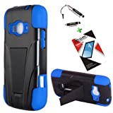 T-Mobile ZTE Concord II Case ZTE Z730 3 in 1 Bundle Silicon Hybrid hard Snap on Cover Case with Viewing Stand - Blue (Free Ultra-Sensitive Stylus Pen and Premium Screen Protector by BeautyCentral TM) by Generic